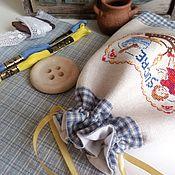 Банки ручной работы. Ярмарка Мастеров - ручная работа Текстильный мешочек для хранения, ручная вышивка крестом. Handmade.