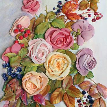 Картины и панно ручной работы. Ярмарка Мастеров - ручная работа Картина лентами Розы и ягоды. Handmade.