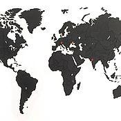Для дома и интерьера handmade. Livemaster - original item Puzzle world map True Puzzle Black 100 x 60 cm. Handmade.