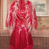 """Одежда ручной работы. Ярмарка Мастеров - ручная работа Платье коктейльное """"Огонь"""" с накидкой и боа. Handmade."""