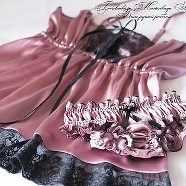 """Одежда ручной работы. Ярмарка Мастеров - ручная работа """"Vintage night"""". Натуральное шелковое белье. Handmade."""