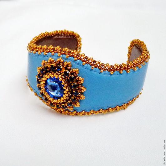 """Браслеты ручной работы. Ярмарка Мастеров - ручная работа. Купить Браслет  """"Кристалл"""" Натуральная Кожа Синий золотой голубой. Handmade."""