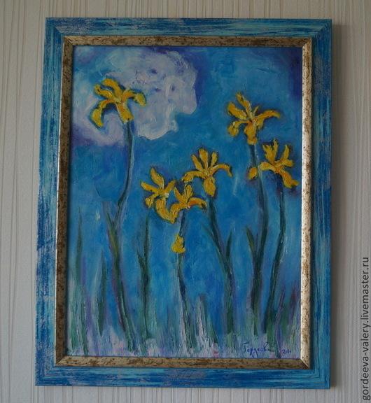 """Картины цветов ручной работы. Ярмарка Мастеров - ручная работа. Купить Картина маслом """"Ирисы"""". Handmade. Голубой, желтый, облако"""