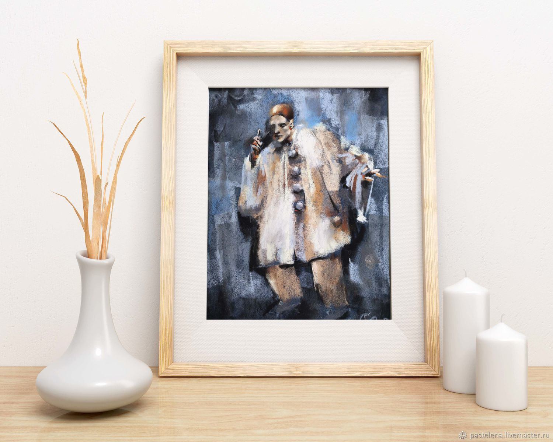 Pastel painting Sad clown (grey beige Pierrot), Pictures, Yuzhno-Uralsk,  Фото №1