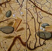 Картины и панно handmade. Livemaster - original item Author`s diptych Time to scatter stones and a Time to gather them. Handmade.
