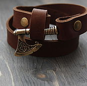 Украшения handmade. Livemaster - original item Bracelet with axe ,by the axe of Perun,the axe ,leather bracelet. Handmade.