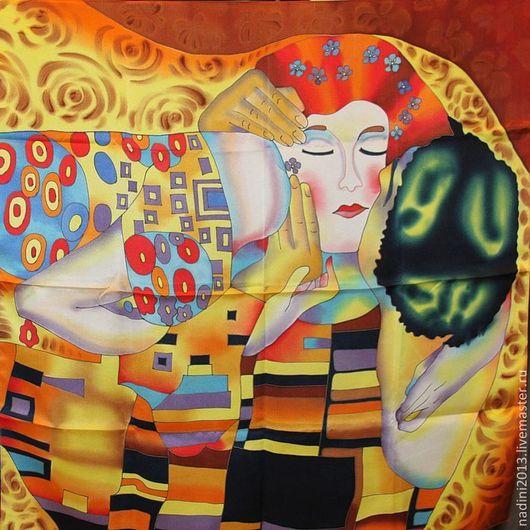 Платок батик выполнен по мотивам картины Густава Климта. Такой платок будет очень хорошим подарком как для девушки,так и для женщины.и хорошим подарком ко дню влюблённых.