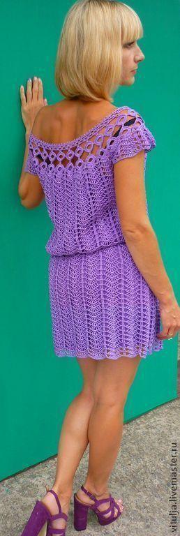 """Платья ручной работы. Ярмарка Мастеров - ручная работа. Купить Платье  """"Сирень"""". Handmade. Фиолетовый, платье крючком, 100% хлопок"""