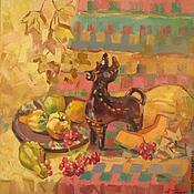 """Картины и панно handmade. Livemaster - original item """"Осенний натюрморт"""" оранжевый, тыква, желтый, осень, калина, орнамент. Handmade."""