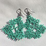 Украшения handmade. Livemaster - original item Lace earrings tatting Christmas Trees. Handmade.
