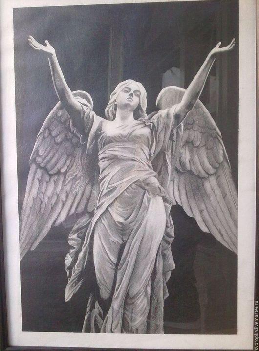 Фантазийные сюжеты ручной работы. Ярмарка Мастеров - ручная работа. Купить Ангел. Handmade. Чёрно-белый, картина для интерьера, ангел