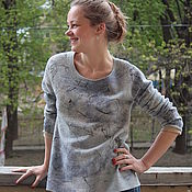 Одежда handmade. Livemaster - original item Felted sweater Jeans light. Handmade.