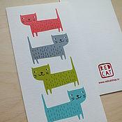 Открытки ручной работы. Ярмарка Мастеров - ручная работа Открытка поздравительная из дизайнерской бумаги «Коты». Handmade.