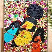 Картины и панно handmade. Livemaster - original item Mother Daughters Original painting mosaic. Afro Mom kids. Handmade.