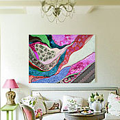 Картины и панно handmade. Livemaster - original item Painting in the style of abstraction in pink, lilac, gold tones Nymph. Handmade.
