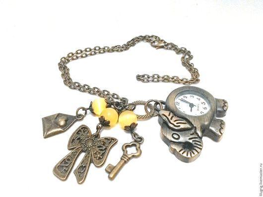 """Часы ручной работы. Ярмарка Мастеров - ручная работа. Купить Часы-кулон """"Слон"""". Handmade. Часы, подарок девушке"""