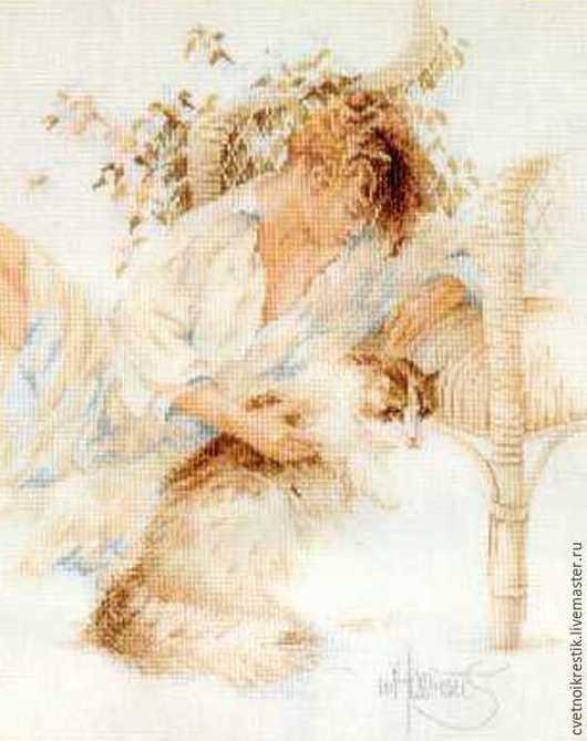 Люди, ручной работы. Ярмарка Мастеров - ручная работа. Купить Девушка с кошкой. Handmade. Разноцветный, картина для интерьера, романтика