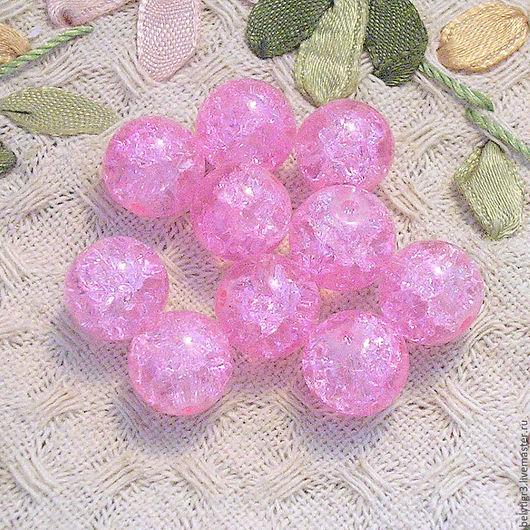 бусина кракле, 10 мм, стекло, цвет розовый, 1 шт