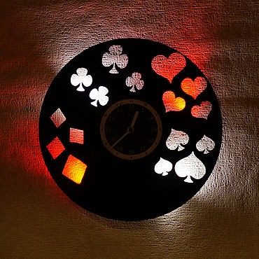 For home and interior handmade. Livemaster - original item Wall clock with LED lighting from a vinyl record Cards. Handmade.