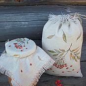 Для дома и интерьера handmade. Livemaster - original item Linen cap to jam the bag with the painting. Ryabinushka..... Handmade.