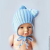 Шапки ручной работы. Ярмарка Мастеров - ручная работа Шапка для мальчика, шапочка эльфа вязаная, чепчик голубой. Handmade.