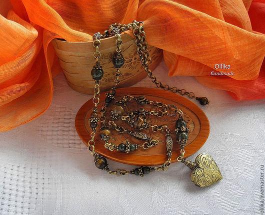 Медальон Сердечко Колье , Агаты, Бронза - В НАЛИЧИИ, медальон с секретом, оригинальный подарок, подарок на день рождения, СЕРЬГИ В ПОДАРОК, ПОДАРОК ПРИ ПОКУПКЕ, колье с медальоном, медальон для фотографии, медальон для фото, подарок девушке женщине, стильное украшение, стильный подарок, оригинальное украшение, колье фото, купить колье с агатом, медальон на цепочке, бронзовое колье, колье и серьги купить, комплект украшений купить, длинные бусы, длинное колье,  ollika Ольга Дмитриева, Ярмарка Мастеров, Авторская бижутерия