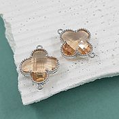 Материалы для творчества handmade. Livemaster - original item Connector Flower 19x15x5 mm beige / rhodium (4656-P). Handmade.