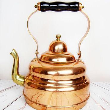 Винтаж ручной работы. Ярмарка Мастеров - ручная работа Винтажные чайники: Старинный чайник. Медь, латунь, дерево. Бельгия. Handmade.