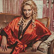 """Одежда ручной работы. Ярмарка Мастеров - ручная работа """"Пламя страсти"""" - комплект красное кимоно с черной сорочкой. Handmade."""