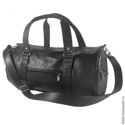 Мужские сумки ручной работы. Ярмарка Мастеров - ручная работа. Купить Авторская спортивная кожаная сумка Sport & Travel, черная. Handmade.