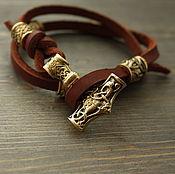 Украшения handmade. Livemaster - original item Bracelet with Thor`s Hammer and bronze accents. Handmade.