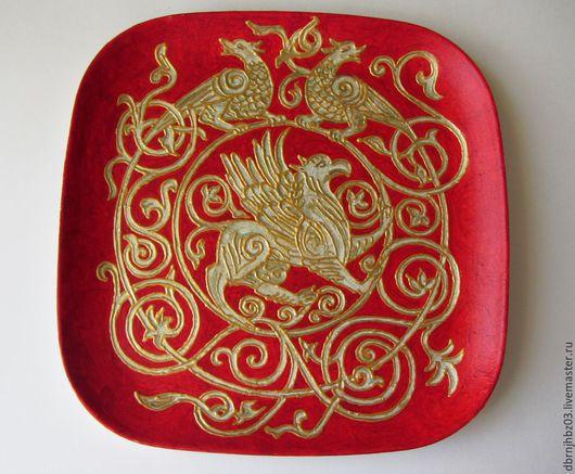Декоративная посуда ручной работы. Ярмарка Мастеров - ручная работа. Купить Симаргл. Handmade. Разноцветный, декоративная тарелка, подставка из пластика