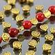 Бусины металлические Таблеточки формы диск диаметром 6 мм и покрытием античное золото для сборки украшений комплектами по 10 бусин\r\nПример сочетания с бусинами диаметром 8 мм