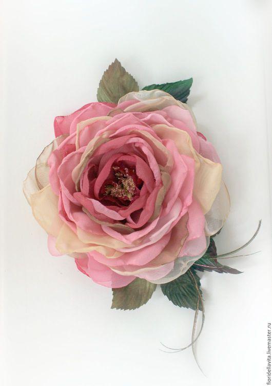 """Цветы ручной работы. Ярмарка Мастеров - ручная работа. Купить Роза-брошь """"Мари"""". Цветы из ткани.. Handmade. Роза-брошь"""