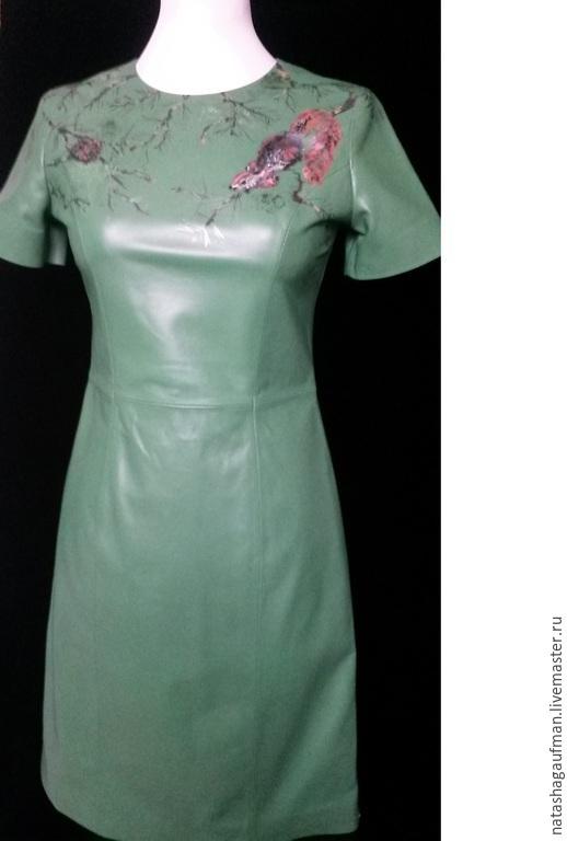 Платья ручной работы. Ярмарка Мастеров - ручная работа. Купить Платье из кожи с авторской ручной росписью. Handmade. Зеленый, платье