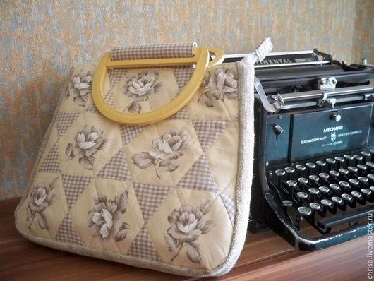 Женские сумки ручной работы. Ярмарка Мастеров - ручная работа. Купить Летняя льняная сумка в технике лоскутного шитья Starry Rose Bag. Handmade.