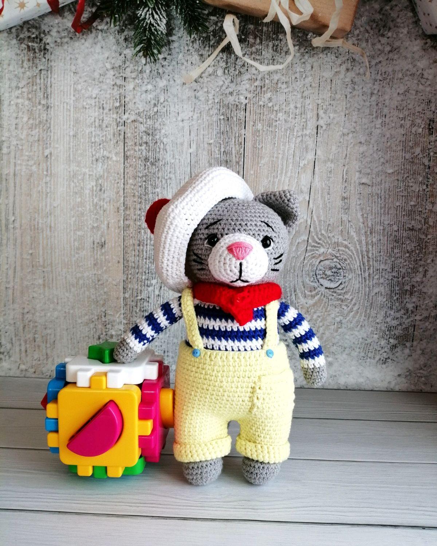 Котик Джереми, вязаные игрушки, игрушки ручной работы, Мягкие игрушки, Стерлитамак,  Фото №1