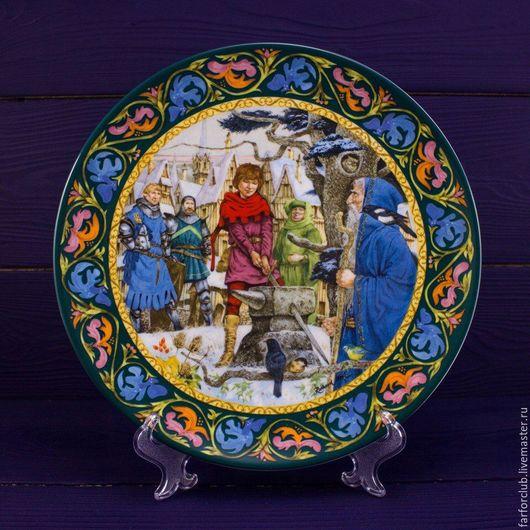 """Декоративная посуда ручной работы. Ярмарка Мастеров - ручная работа. Купить Тарелка """"Артур извлекает меч"""", WEDGWOOD. Handmade. Комбинированный"""