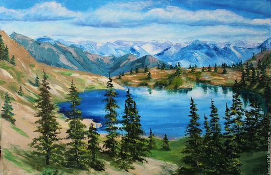 Пейзаж ручной работы. Ярмарка Мастеров - ручная работа. Купить Озеро в горах. Handmade. Зеленый, картина озеро, картина маслом