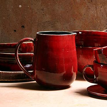 """Посуда ручной работы. Ярмарка Мастеров - ручная работа Красный керамический кувшин """"Огненно-красный"""". Handmade."""