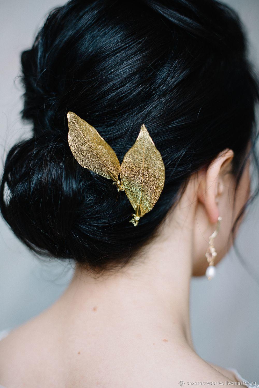 Шпилька листик золото, Украшения в прическу, Москва,  Фото №1
