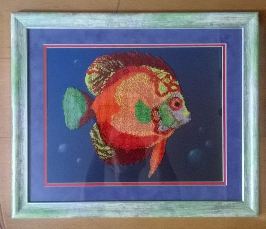 Животные ручной работы. Ярмарка Мастеров - ручная работа. Купить Рыбка. Handmade. Ярко-красный, картина для интерьера, бисер, паспарту