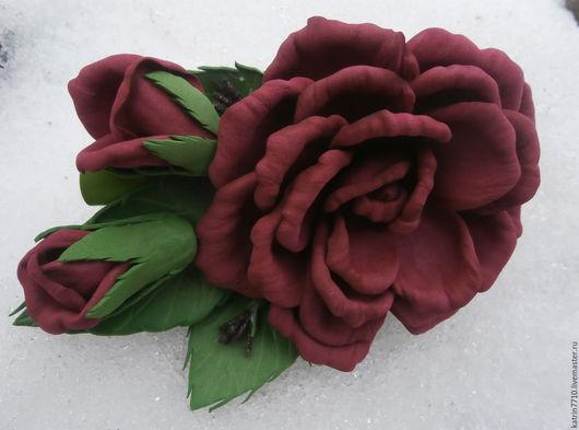 Заколки ручной работы. Ярмарка Мастеров - ручная работа. Купить Заколка розы. Handmade. Бордовый, заколка для волос, Аксессуары handmade