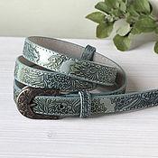 Аксессуары handmade. Livemaster - original item Narrow leather belt with embossed Mint. Handmade.