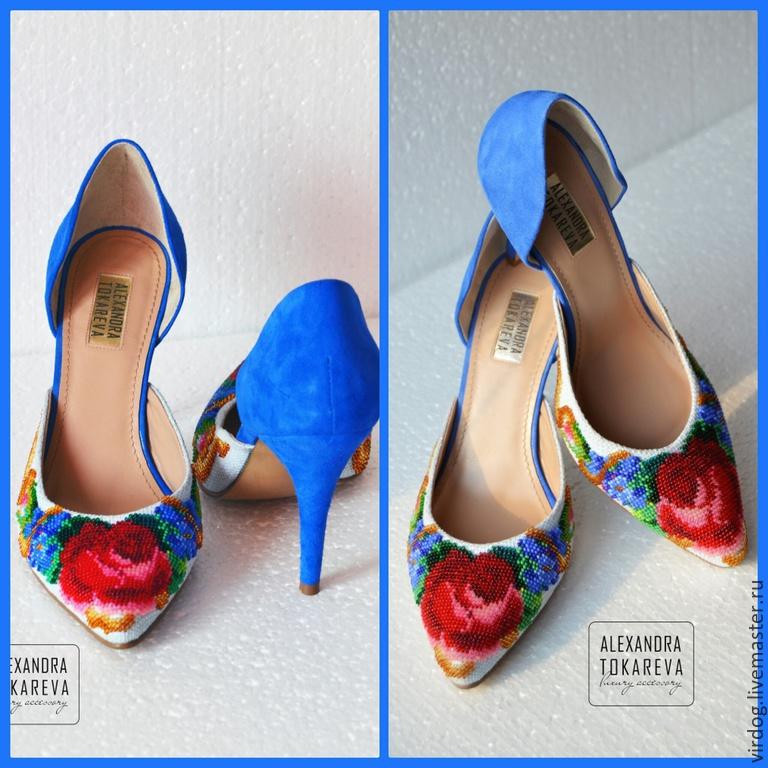 Туфля из цветов вышивка