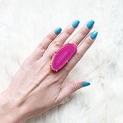 Кольца ручной работы. Ярмарка Мастеров - ручная работа Кольцо с розовым агатовым срезом. Handmade.