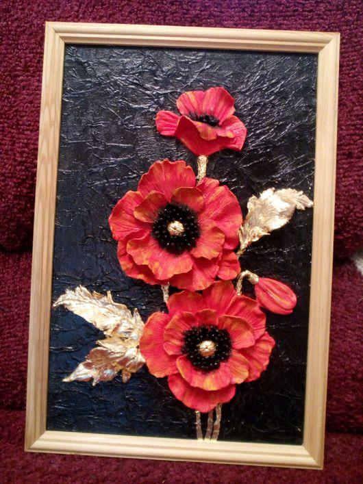 Картины цветов ручной работы. Ярмарка Мастеров - ручная работа. Купить Панно барельеф. Handmade. Маки, к, цветы, темперные краски