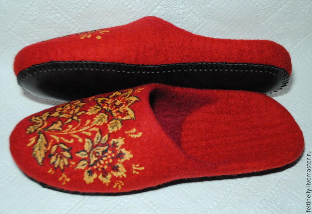 khokhloma. felted slippers, Slippers, Vitebsk,  Фото №1