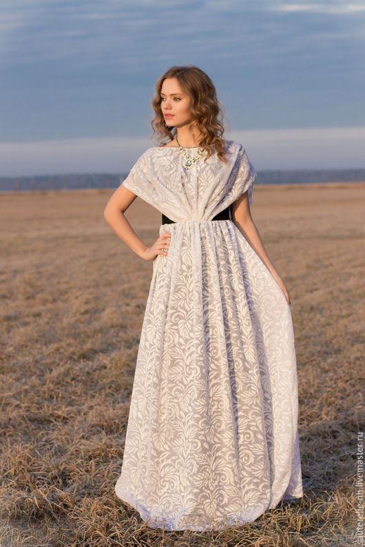 """Платья ручной работы. Ярмарка Мастеров - ручная работа. Купить Платье """"Жемчужина"""". Handmade. Белый, красивое платье, белый и серый"""