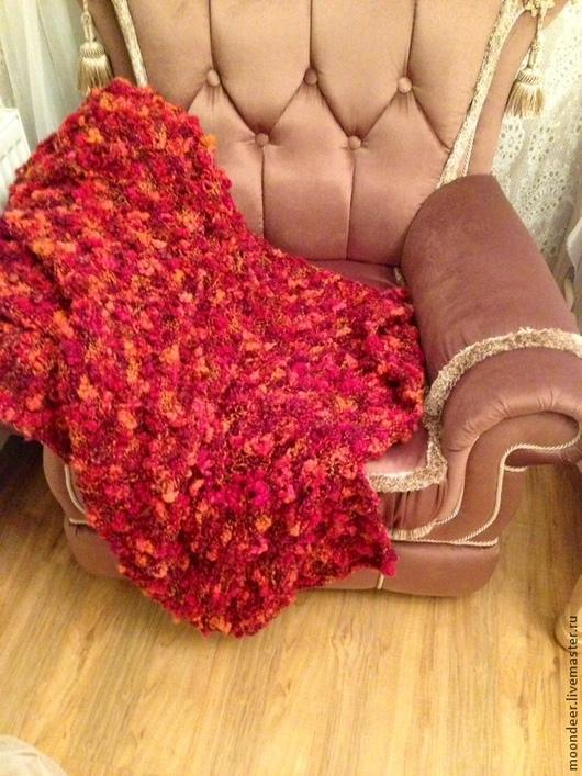 Текстиль, ковры ручной работы. Ярмарка Мастеров - ручная работа. Купить Плед, ручная вязка. Handmade. Ярко-красный, плед